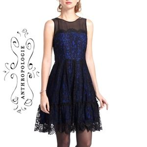 Anthro Moulinette Soeurs Sapphire/Black Lace Dress